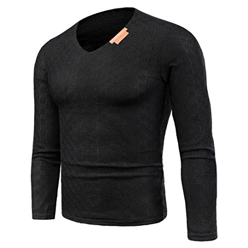 Hansee Neue herren Herbst Winter Pullover Pullover Schlank Solide V Kragen Jumper Strick Outwear Bluse (L, Schwarz) (Solide Französisch-manschette)