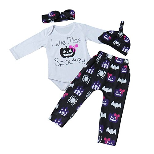 Cuteelf Halloween-Kostüme Neugeborenes Baby Baby Mädchen Slip Overall Tops + Hosen Halloween-Kostüme Kleidung Anzüge Säuglinge Halloween-Kostüme Hosen Hüte Haarband 4 Sätze