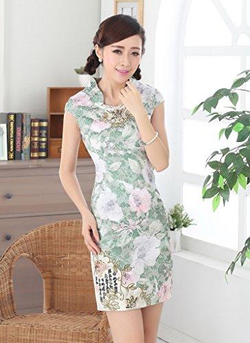 Smile YKK Femme Robe Courte Cheongsam Qipao Floral Vert