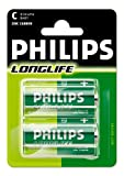 Philips R14-P2/01B C Zinc Carbon Battery, 2er Blister