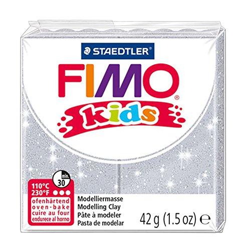 Staedtler 8030-812 - Fimo Kids Normalblock, 42 g, glitter silber