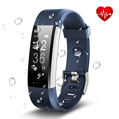 Antimi Fitness Armband, Wasserdicht IP67 Fitness Tracker, Pulsuhren, Schrittzähler, Musik-Player und Kamerasteuerung, Vibrationsalarm Anruf SMS Whatsapp Beachten kompatibel mit iPhone Android Handy (Blau)