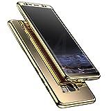 Adamark Coque Samsung Galaxy S8, Coque Galaxy S8 Plus 360 Antichoc Protection Anti-Scratch Full Cover Miroir Housse Case+Clear TPU Protecteur d'écran (Galaxy S8 Plus, Or)