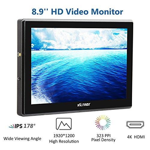 VILTROX® DC-90HD 8.9 Zoll 4K Full HD Kamera Video Feld Monitor Display für Canon Nikon DSLR BMPCC Camcorder, 1920x1200 Pixel, HDMI Eingang Ausgang