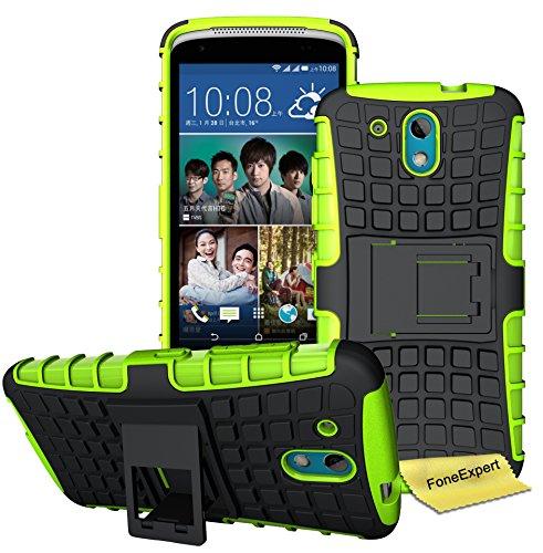 HTC Desire 526G Handy Tasche, FoneExpert® Hülle Abdeckung Cover schutzhülle Tough Strong Rugged Shock Proof Heavy Duty Case für HTC Desire 526G + Displayschutzfolie (Grün)
