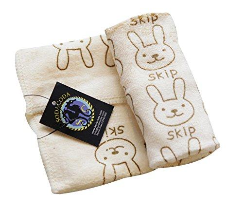Sodacoda Nettes Mikrofaser Handtuch - Weiches Baby-Tuch für das Waschen oder das Abwischen oder nettes Tuch für Gesichts-Reinigung - schnell trocken und leicht - Bunny Print in Light Yellow - 30x30cm -