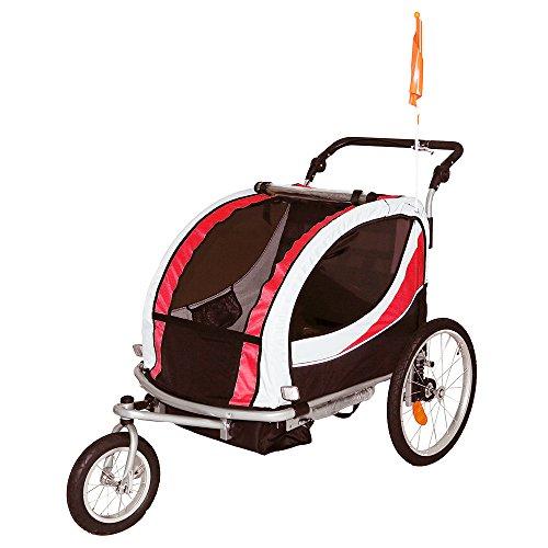 Tiggo Jogger Remorque à Vélo 2 en 1, pour Enfants + Amortisseur 802-D01 JBT03N - Rouge-No
