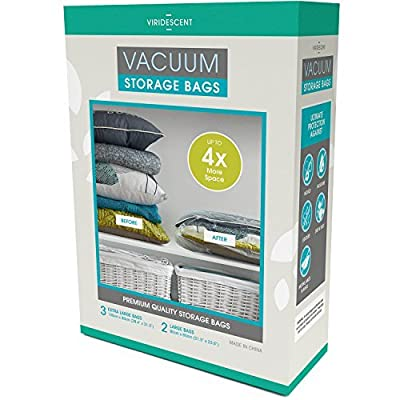 Vacuum Storage Bags: 110 MICRON (35% Thicker); Stronger, Higher Quality Space Savers; 5 pack (Large, XL) - by Viridescent. Makes Saving Space Easy! Pack, Store & Protect Clothing, Bedding & Luggage. 100% MONEY BACK GUARANTEE produced by Viridescent - quic