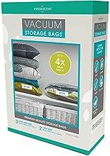 Bolsas para almacenar al vacío; ahorro de espacio más fuerte, de mayor calidad, 110 MICRONES, pack de 5 (Grandes y XL). ¡Simplifican el ahorro de espacio! Envase, almacene y proteja la ropa, ropa de cama y equipaje. ¡Compre hoy de oferta!