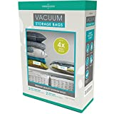 Vacuum Storage Bags: 110 MICRON (35% Thicker); Stronger, Higher Quality Space Savers; 5 pack (Large, XL) – by Viridescent. Makes Saving Space Easy! Pack, Store & Protect Clothing, Bedding & Luggage. 100% MONEY BACK GUARANTEE