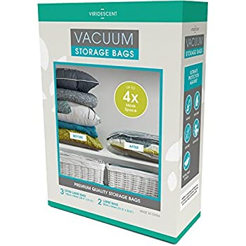Vacuum Storage Bags: 110 MICRON (35% Thicker) Stronger Space Savers; 5pack (Large, XL) MONEY BACK GUARANTEE