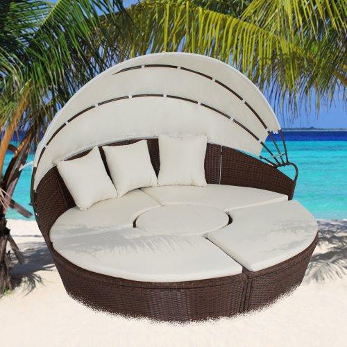 Tectake sole isola island in alluminio rattan letto da for Arredo terrazza giardino offerte