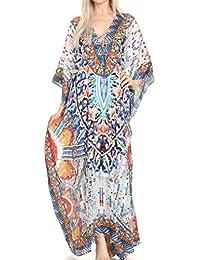 Sakkas Georgettina Flowy Rhinestone V Neck Long Caftan Dress / Cover Up