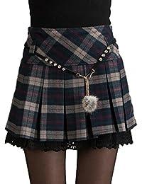 EMMA Mini Falda Mujer Plisada Escocesa Elegante Invierno Alta Cinturilla Elástica de Encaje Doble de la Colegiala (con Hermosa Cadena en la Cintura)