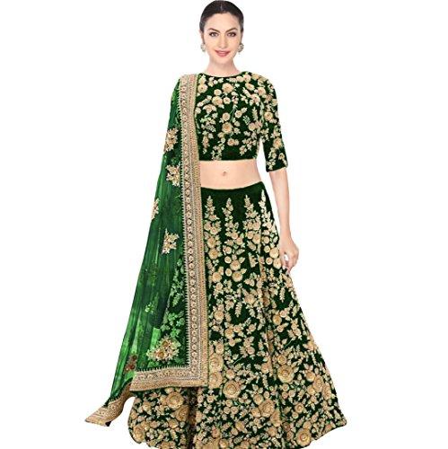 FabTexo Green Color Velvet & Net Semi_Stitched Lehenga Saree For Women (Navratri...