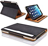 MOFRED® Black & Tan Apple iPad 2 / iPad 3 / iPad 4 (All Previous Generation iPads) Leather Case-MOFRED®- Executive Multi Function Leather Standby Case for Apple New iPad 4 (Retina Display) / iPad 3 / iPad 2 with Built-in magnet for Sleep & Awake Feature
