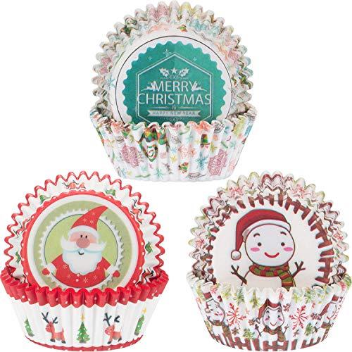 LuLyLu 300 Stücke Weihnachten Cupcake Liner Cupcake Verpackung Frohe Weihnachten Weihnachtsmann Schneemann Papier Backförmchen für Weihnachtsfeier Backen Dekor by