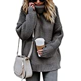 Kisshes Damen Rollkragen Pullover Casual Strickpullover Rollkragenpullover Herbst Winter Strick Pullover Oversize Sweater Top Outwear