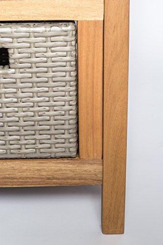 SAM® Gartenbank Flora aus Akazie, inklusive 3 x Polyrattan-Korb, Garten-Möbel aus Holz, geölt & natur, 121 x 60 cm, FSC® 100% zertifiziert, massive Holzbank, pflegeleichtes Unikat - 4