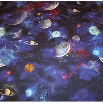 Solar system space planets stars cotton fabric material for Solar system fabric panel