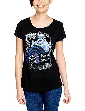 Elbenwald Arielle Disney Camiseta de Las Señoras Ursula Mar Será de Color Negro de Algodón Mina