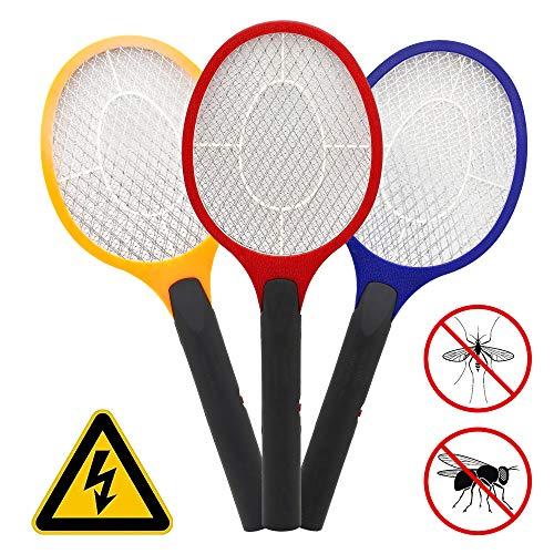 wolketon 3X Elektrische Fliegenklatsche doppeltes Schutzgitter Mücken Mückenklatsche Insektenvernichter EXTRA STARK Fliegen Insekten Mörder Doppelte Schichten Mesh Schutz 3 Farben