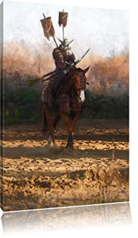 Guerrier samouraï sur un cheval, format: 100x70 sur toile, XXL énormes Photos complètement encadrées avec civière, impression d'art sur murale avec cadre, moins cher que la peinture ou une peinture à l'huile, pas une affiche ou une