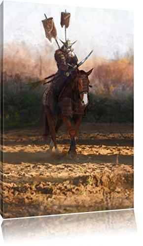 Samurai Krieger auf einem Pferd, Format: 60x40 auf Leinwand, XXL riesige Bilder fertig gerahmt mit Keilrahmen, Kunstdruck auf Wandbild mit Rahmen, günstiger als Gemälde oder Ölbild, kein Poster oder (Krieger Kostüm Japanische)