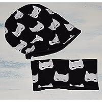 Conjunto Unisex de gorro y braga de cuello, con estampado de Super Héroes, disponible en tallas de recién nacido hasta 6 años, el gorro es de algodón reversible, y la bufanda tiene tela de forro polar dentro.