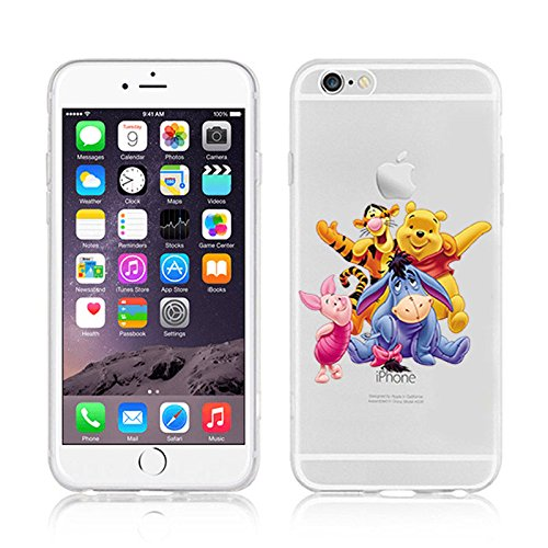 NEW Disney Princesses Transparent Coque souple en TPU pour Apple iPhone 5, 5S, 5C, 6 &6S (iphone 7, Winnie & Friends), coques iphone