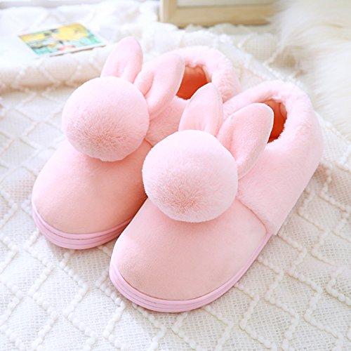 DogHaccd pantofole,Il cotone pantofole, autunno e inverno inverno spesso rimanere a casa le coppie pacchetto con grazioso antiscivolo eleganti interni e Rosa4