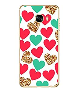 PrintVisa Designer Back Case Cover for Samsung Galaxy C7 SM-C7000 (Red And Green Hearts)