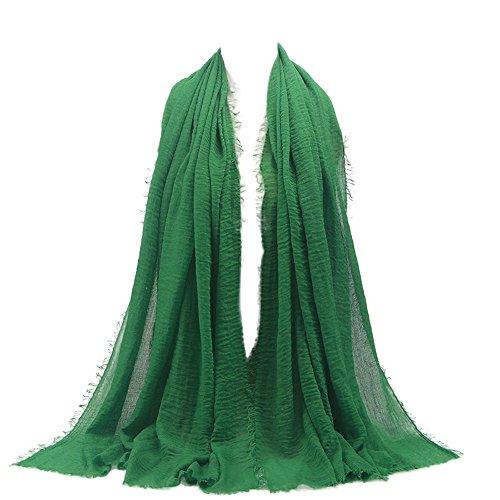 UJUNAOR Baumwolle Leinen Schal Muslim Solide Damen Islamischen Hanfstoff Kopftuch Kopfbedeckungen 180 * 90CM(A,One size)(A 5,One size) - Taschen Wollschal Mit