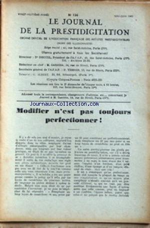 JOURNAL DE LA PRESTIDIGITATION [No 136] du 01/05/1947 - MODIFIER N'EST PAS TOUJOURS PERFECTIONNER. par Collectif