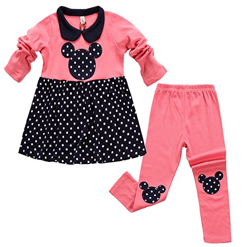 Aikobaby Neonata sveglia Pois 2pcs bambini copre il vestito tunica top e pantaloni Set (3 (3 Pezzi Bambino Outfit)