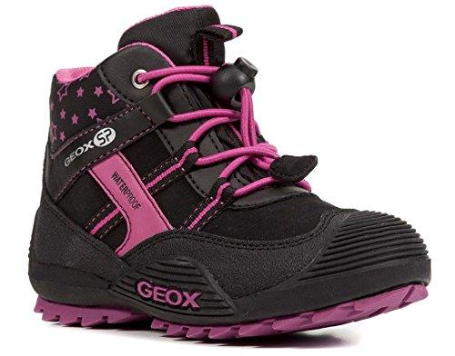 Geox J847HA Atreus WPF Mädchen Stiefel, Übergangsschuh, Wasserdicht, Fleece-Futter, Atmungsaktiv, Wechselfußbett Schwarz (Black/Fuchsia), EU 31