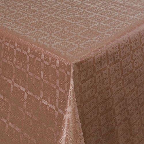 Wachstuch Tischdecke Gartentischdecke mit Fleecerücken Pflegeleicht Schmutzabweisend Abwaschbar Outdoor Karo Muster Braun (03011-02) 180x140 cm - Größe individuell wählbar