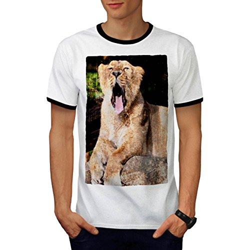 Löwe Gähnen Enorm Mund Groß Wild Katze Herren S Ringer T-shirt   Wellcoda