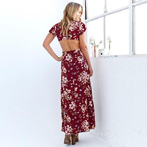 Bekleidung Longra Damen Florale Print Frauen teilen langes Kleid Sommer Strandkleider rückenfreie Vintage Maxi-Kleid Red