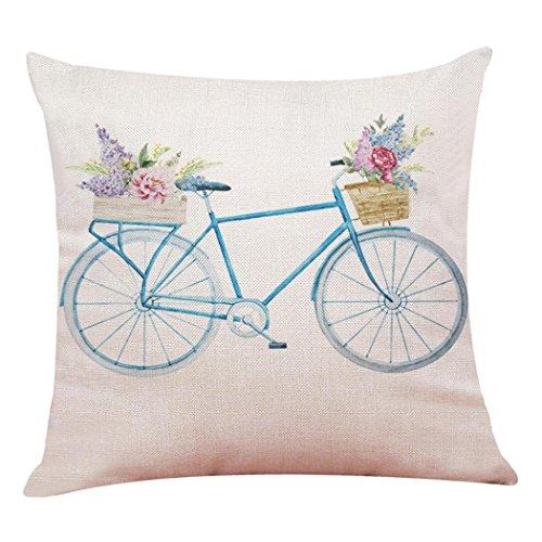 Fossrn Fundas cojines 45x45 Moderno Flores Bicicleta Fundas de Almohada Decorativo Sofa Baratos (02)