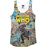Doctor Who Comic Covers Juniors Blanc Tank Top Shirt | M