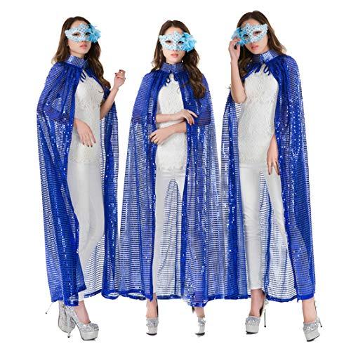 FLYA Halloween Death Cape Umhang Adult Velvet Hooded Cloak Vampire Masquerade Mit Kapuze Robe,1.4M-Blue