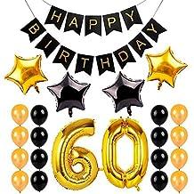 e10af06f6a906 ED-Lumos Juego de Globos para cumpleaños de 60 años Globo Helio Grande de  Aluminio