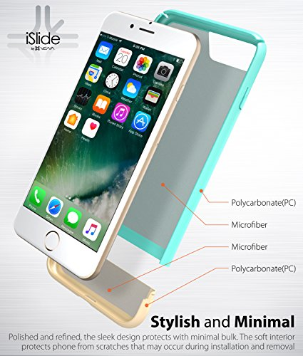 "iPhone 8 Plus / 7 Plus Hülle, Vena [iSlide][Two-Tone] Dock-Freundlich Slim-Fit Schutz Hart Case Cover für Apple iPhone 8 Plus / 7 Plus (5,5"") - Rot / Gold Aquamarin / Champagnergold"