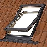 55 x 78 cm Dachfenster der Marke Solstro Premium Holzschwingfenster mit Eindeckrahmen für Ziegel, Dachfenster Außenmaße 55x78 wie C02, CK02, C2A Test