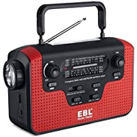 EBL Radio de Emergencia Dynamo Solar Manivela de Mano Radio Am/FM/SW Música, Reproductor de música SD, Linterna LED Lámpara de Lectura de Camping de Cargador de teléfono Celular