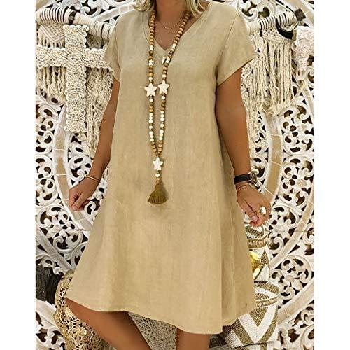 Womteam Frauen-Sommer-Art Feminino Vestido T-Shirt Baumwolle beiläufig Plus Größen-Damen-Kleid(Khaki,XXL) (Dress Princess Up-schuhe Kleinkinder Für)