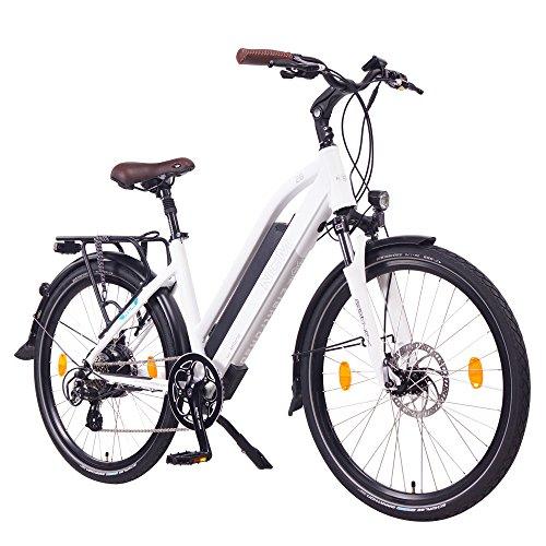 NCM Milano 48V, 26' Bicicletta elettrica da Trekking, e-Bike, BIPA, 250W, Motore posteriore Das-Kit , 13Ah 624Wh, Batteria Li-Ion con celle ad alta potenza, freni a disco meccanici, 7 velocità (26' Bianco)