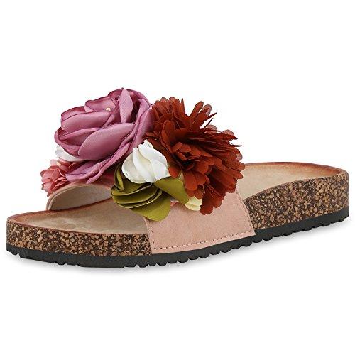 SCARPE VITA Damen Sandalen Pantoletten Blumen Sommer Schuhe Schlappen Flats 168248 Rosa 39 (Damen Blumen Sandalen)