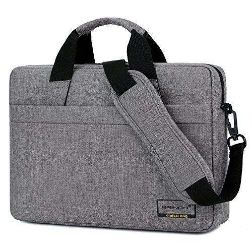 BRINCH 15,6 Zoll Laptop Tasche tragbar Businesstasche Leichtgewichts Schultertasche Messenger Bag Umhängetasche Businesstasche Arbeitstasche für 15 - 15,6 Zoll Laptop / Herren / Damen,Grau